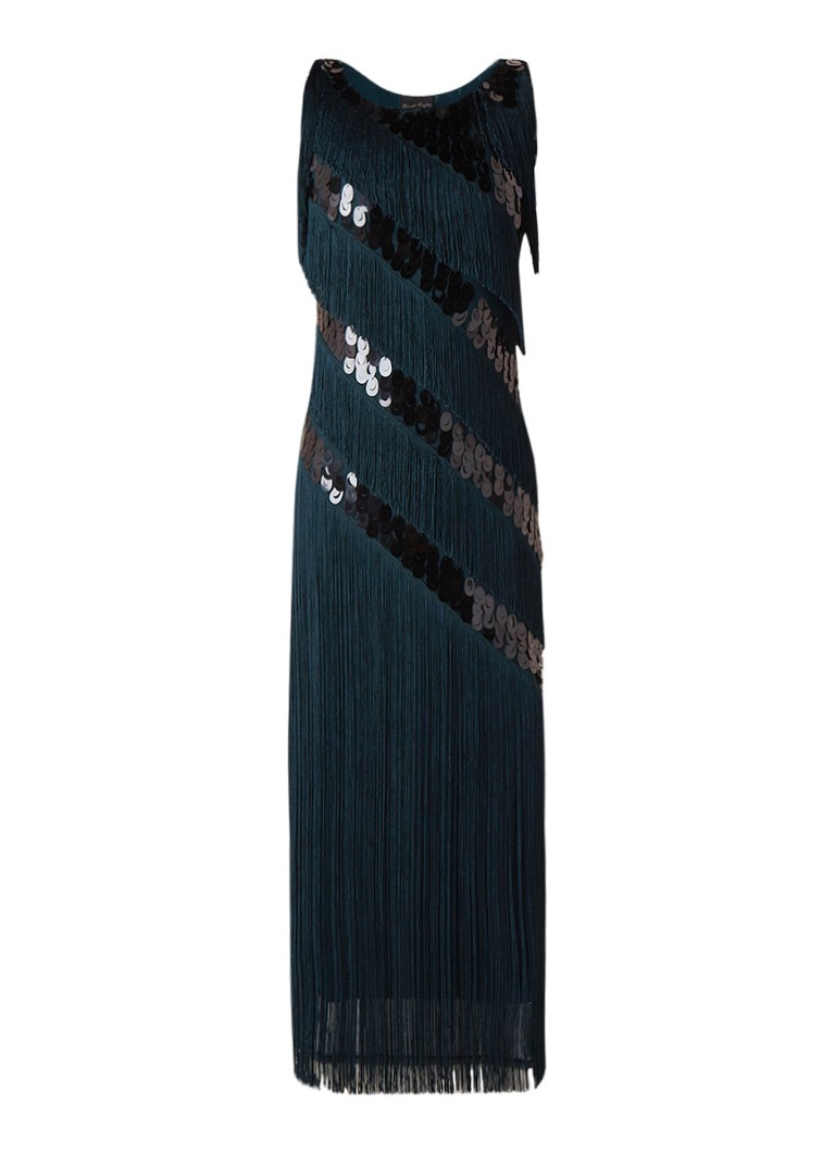 Phase Eight Annabeth maxi-jurk met franjes en pailletten petrol