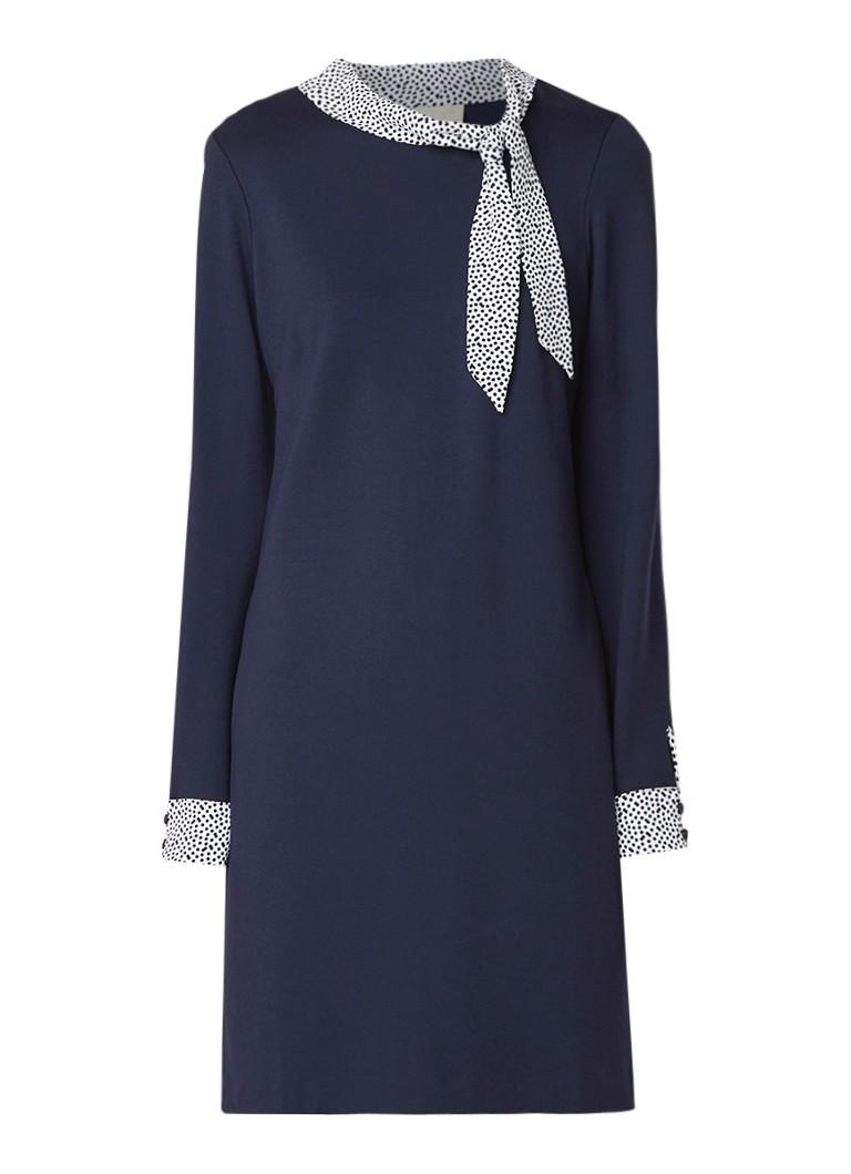 Phase Eight Tawny jersey jurk met strikkraag van crêpe donkerblauw