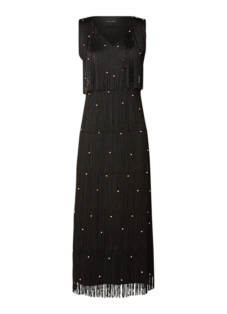 Phase Eight Kandice maxi-jurk met franjes zwart