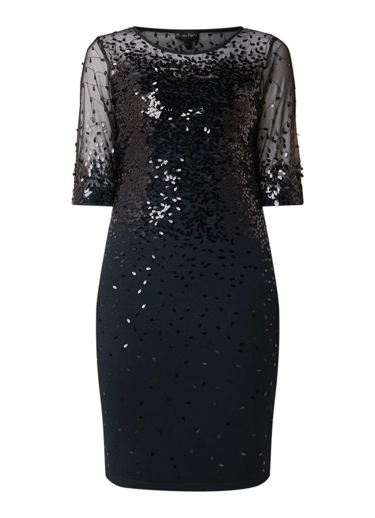 Phase Eight Orlena fijngebreide midi-jurk met pailletten donkergroen
