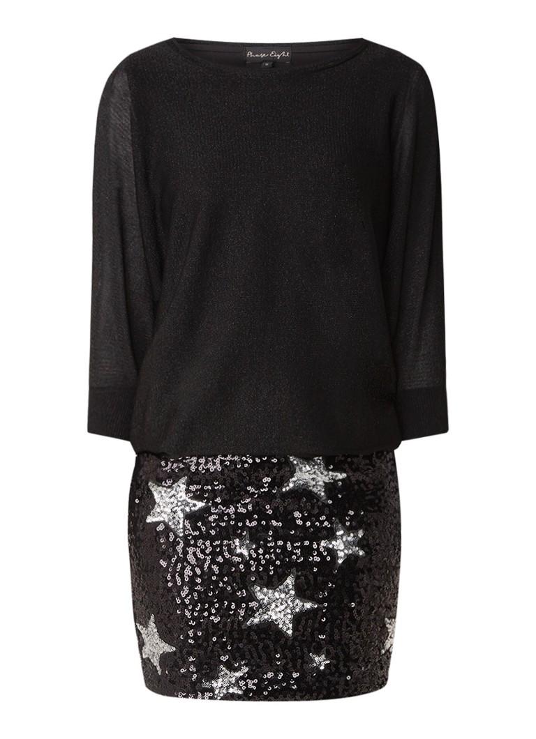 Phase Eight Geonna midi-jurk met overlay en pailletten zwart