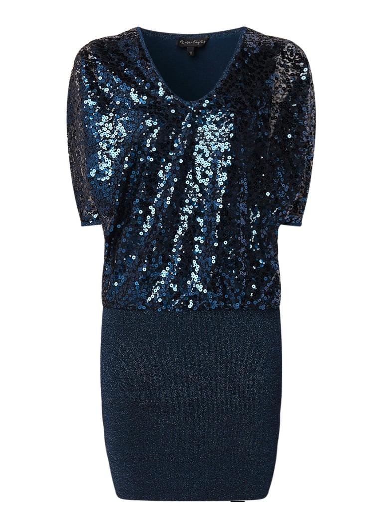 Phase Eight Becca mini-jurk met lurex en pailletten petrol