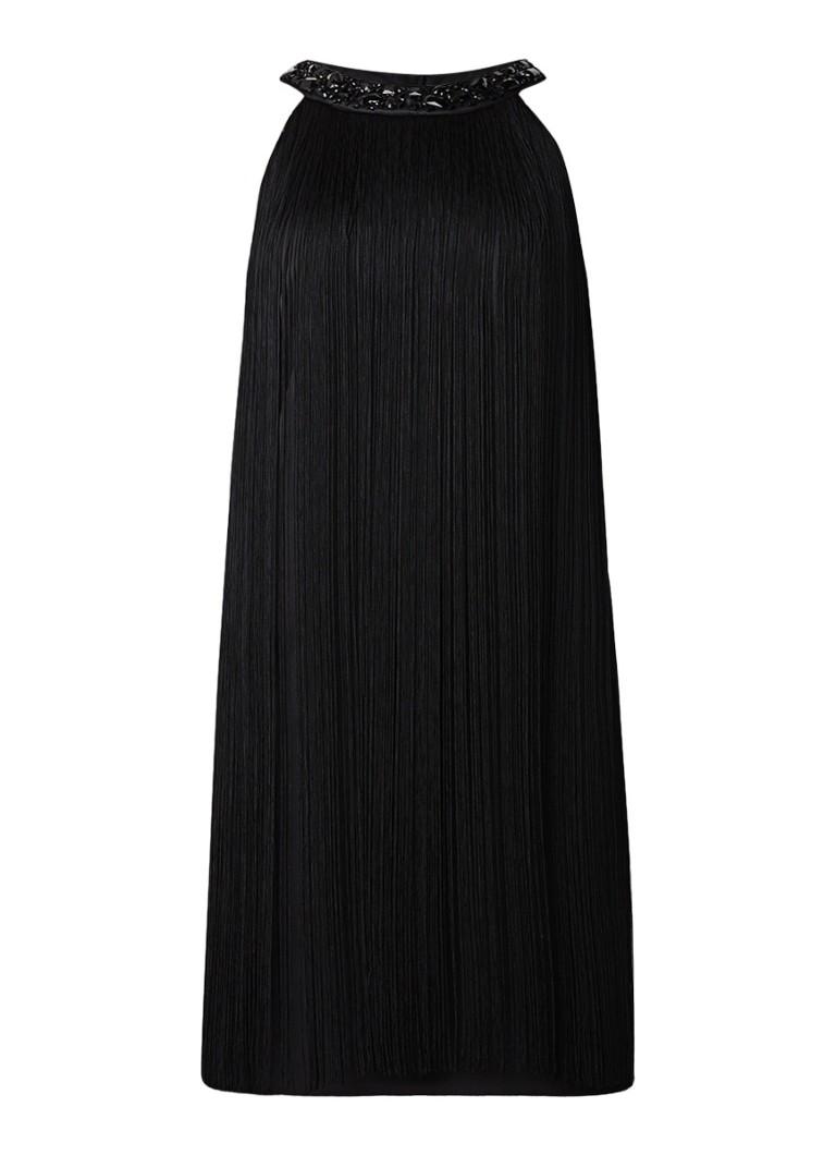 Phase Eight Katie mini-jurk met gedecoreerde kraag en franjes zwart