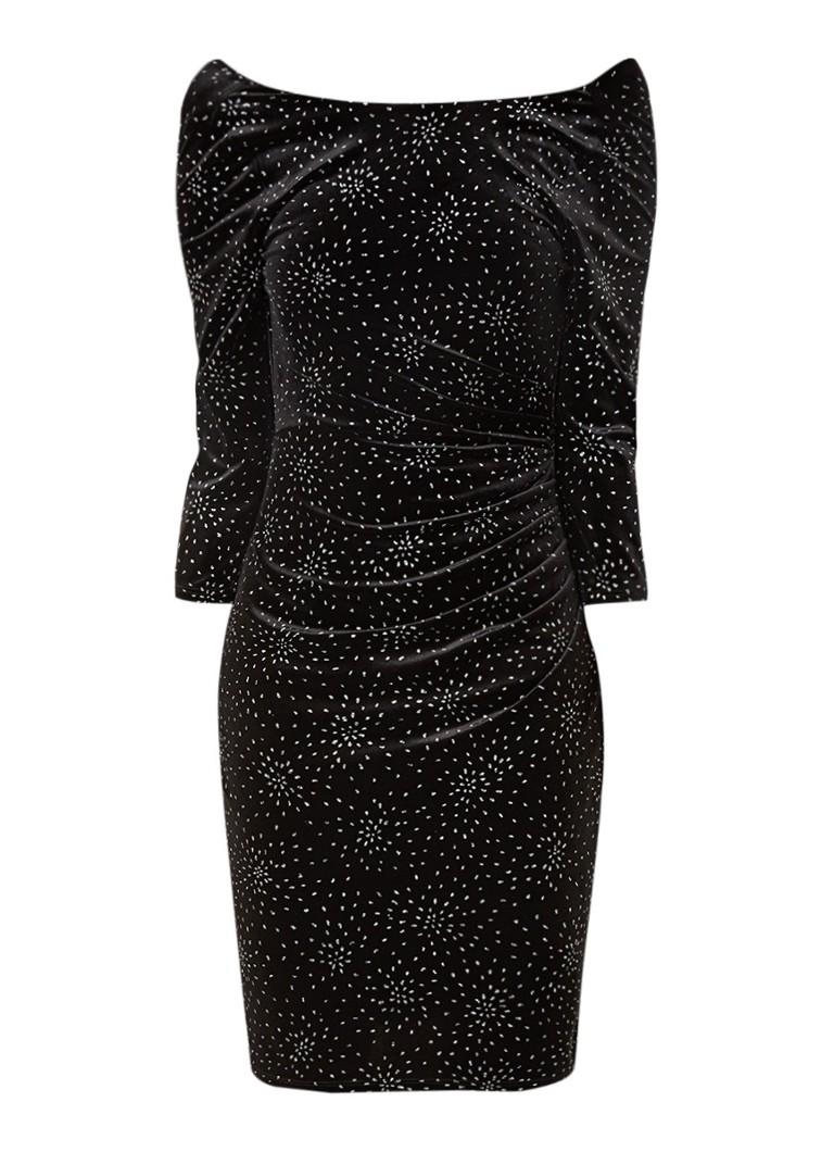 Phase Eight Luisa Bardot midi-jurk van fluweel met glitter zwart