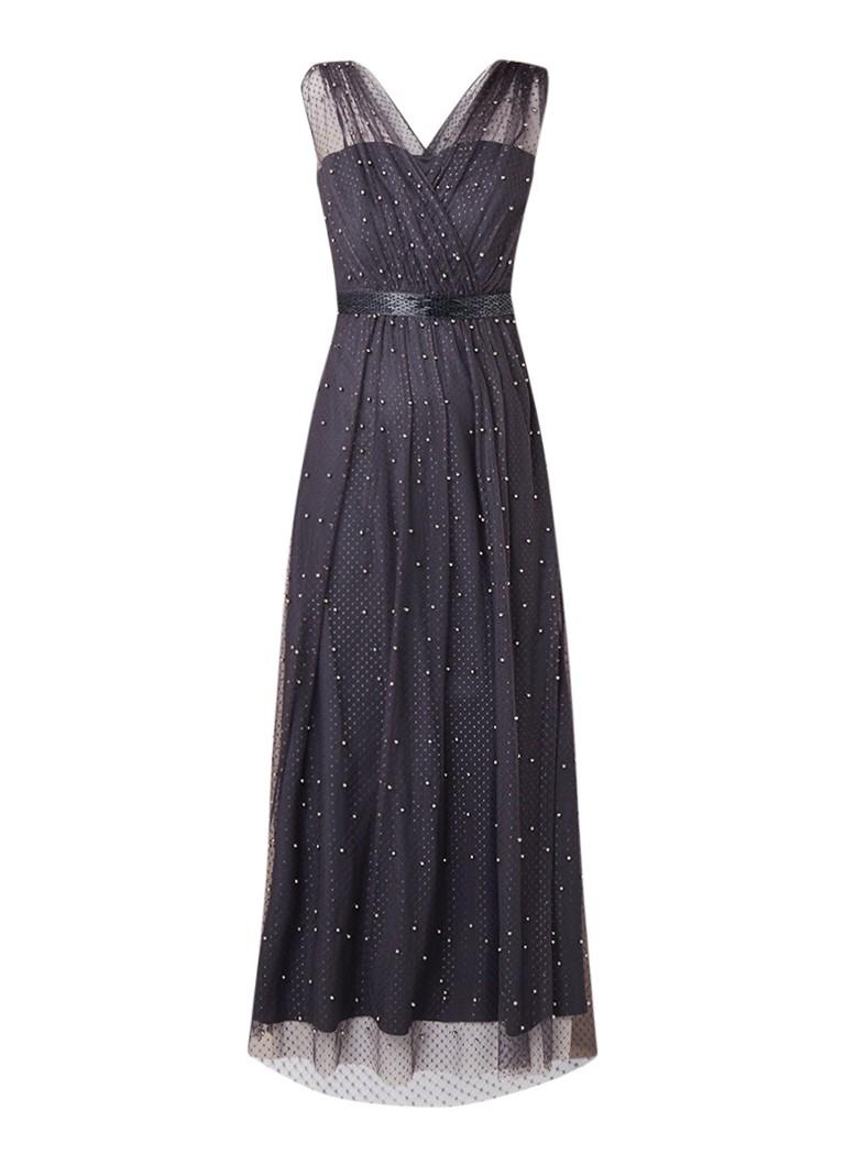 Phase Eight Ashleen maxi-jurk met imitatieparels en strikceintuur middengrijs