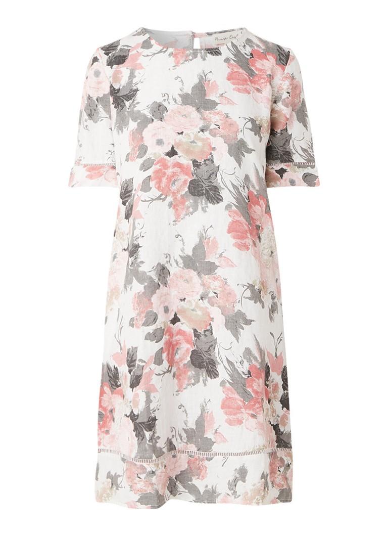 Phase Eight Shevy midi-jurk van linnen met bloemendessin roze