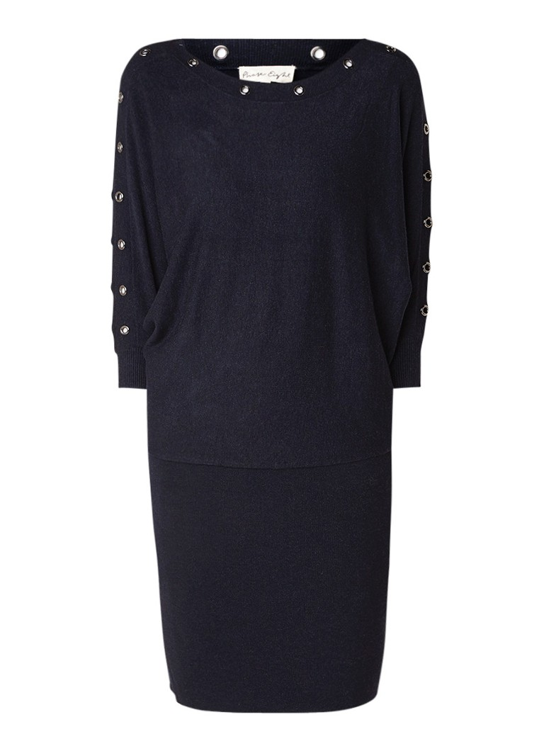 Phase Eight Becca fijngebreide midi-jurk met eyelets en vleermuismouw donkerblauw