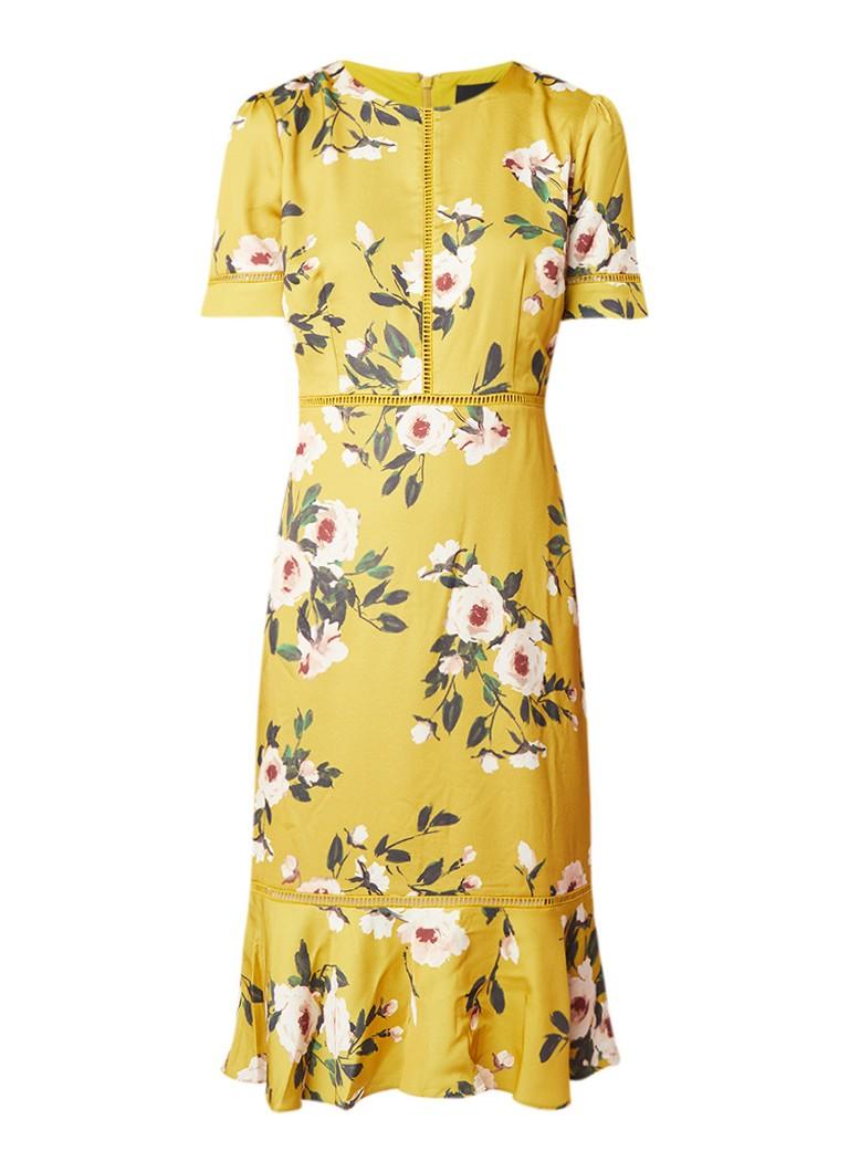 Phase Eight Hilary midi-jurk met bloemendessin en volant mosterd