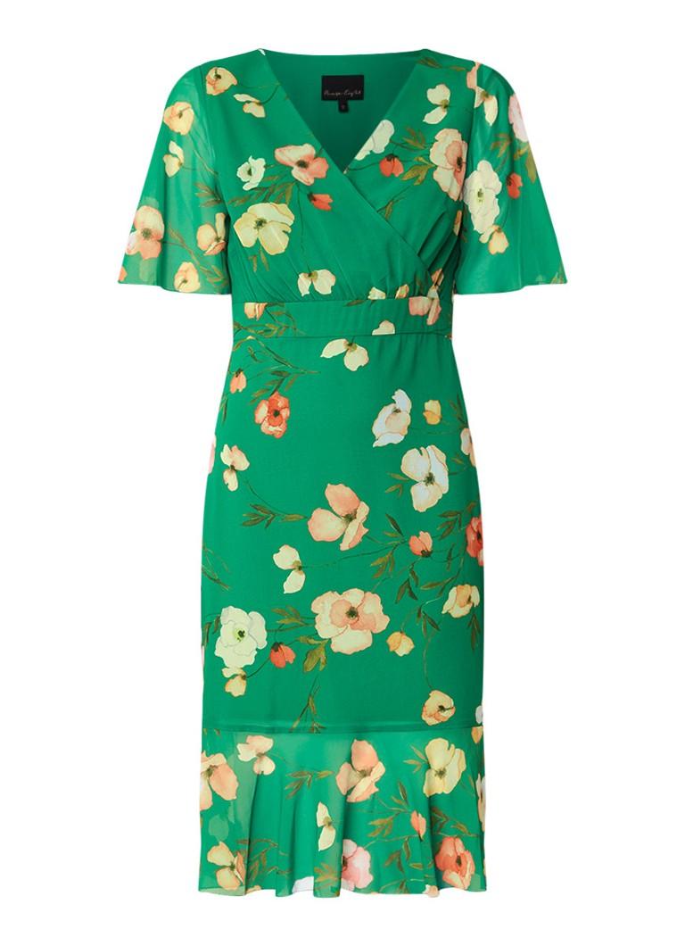 Phase Eight Hailey midi-jurk met bloemendessin en volant groen