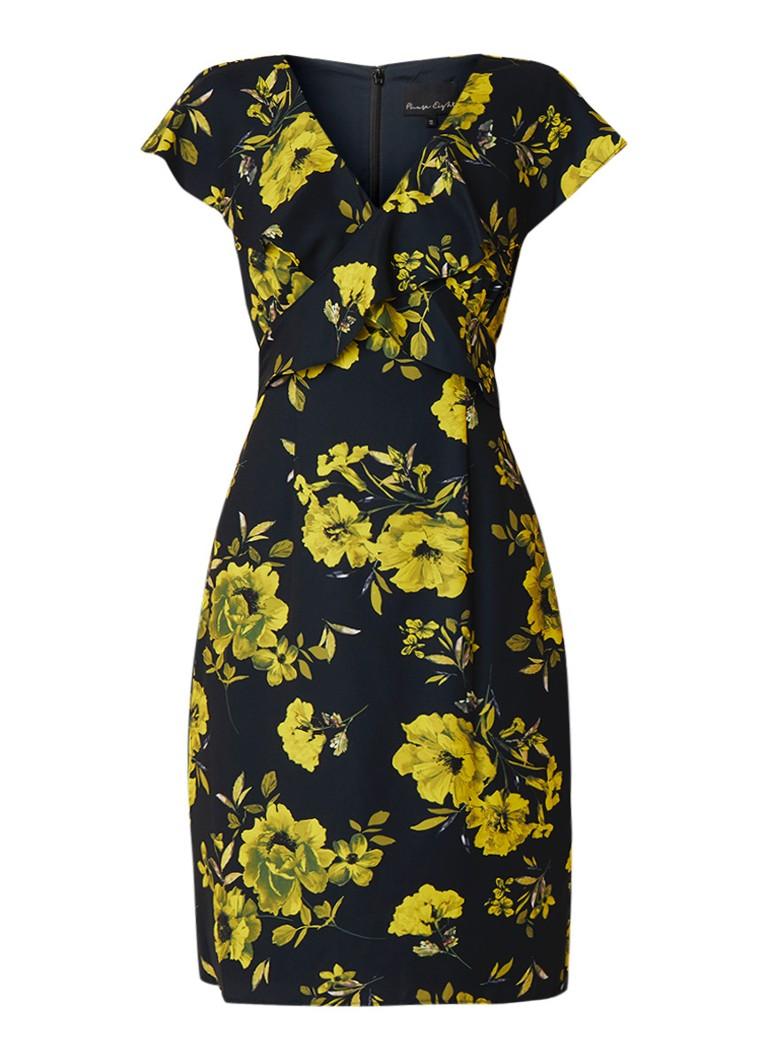 Phase Eight Heidi midi-jurk met bloemendessin en strikceintuur zwart