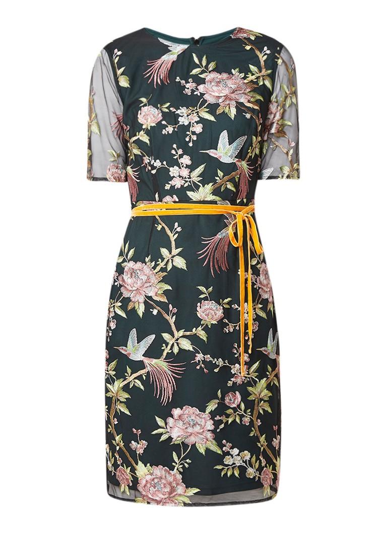 Phase Eight Farryn jurk met mesh overlay en bloemendessin multicolor