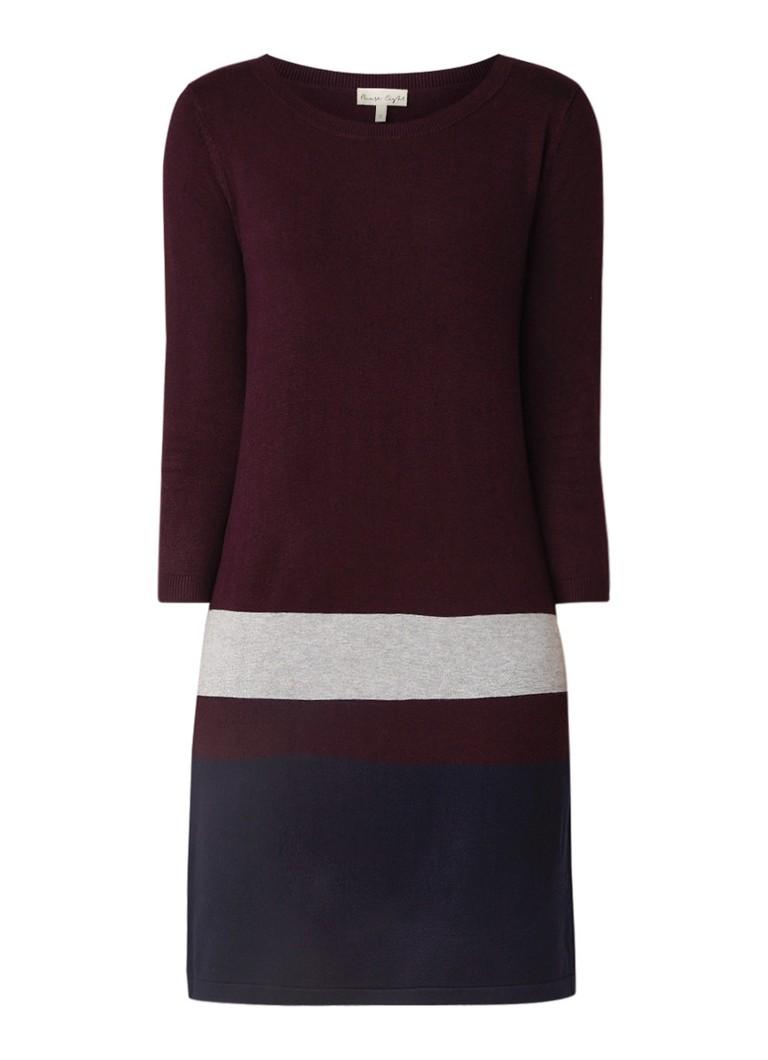 Phase Eight Celine fijngebreide jurk met streepcontrast aubergine