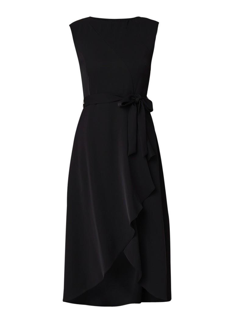 Phase Eight Rushelle midi-jurk met overslag en strikceintuur zwart