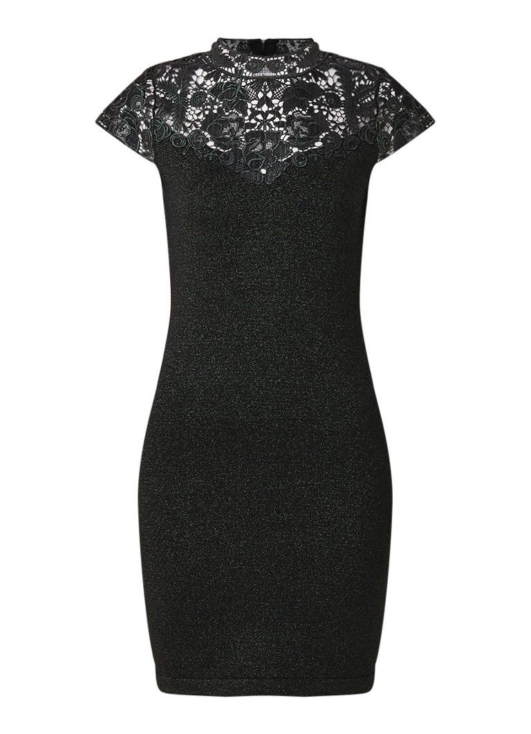Phase Eight Ursula mini-jurk met lurex en inzet van kant donkergroen