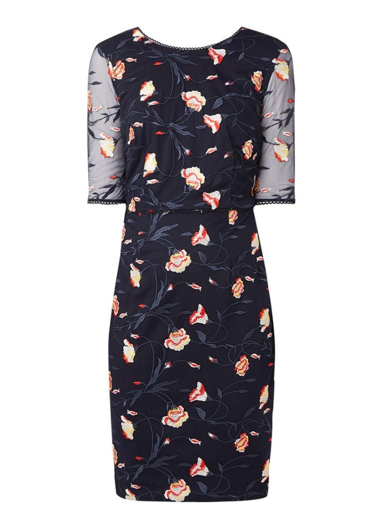 Phase Eight Mariah jurk met overlay van mesh en bloemenborduring donkerblauw