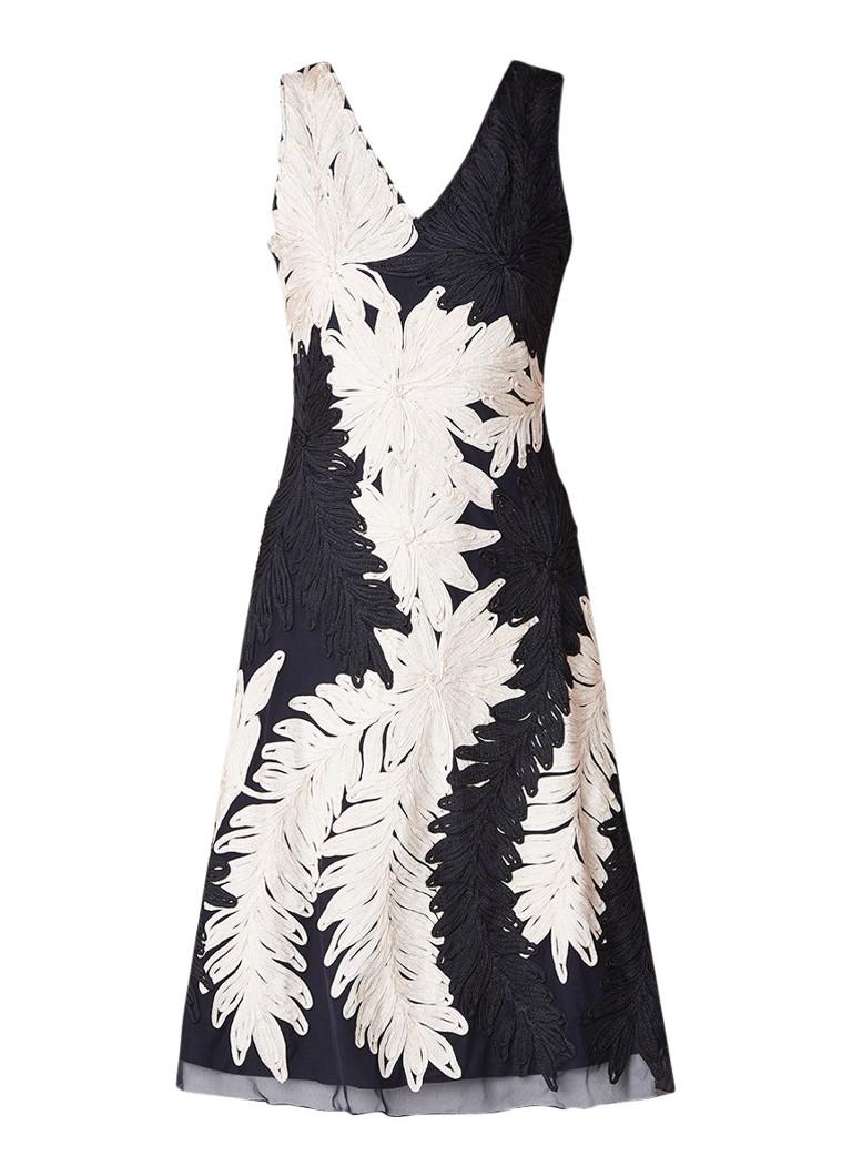 Phase Eight Denise midi-jurk van mesh met tapework donkerblauw