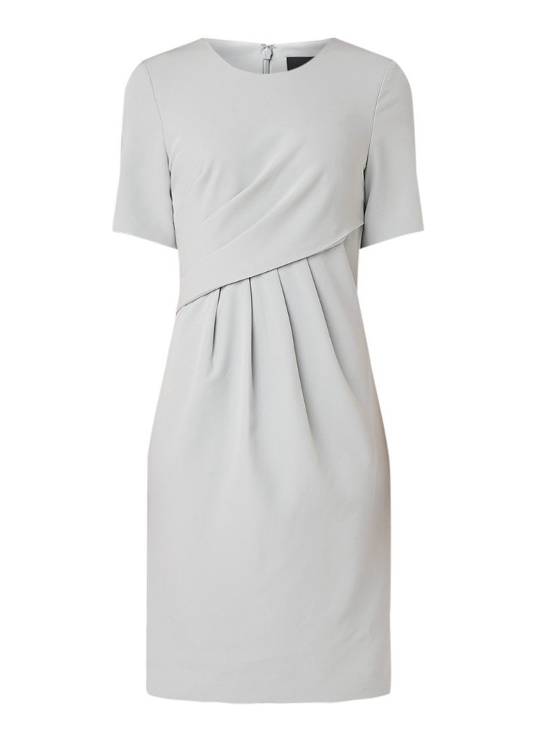 Phase Eight Amira midi-jurk van crêpe met plissé details lichtgrijs