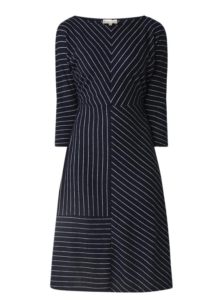 Phase Eight Shamira fijngebreide A-lijn jurk met streepdessin donkerblauw