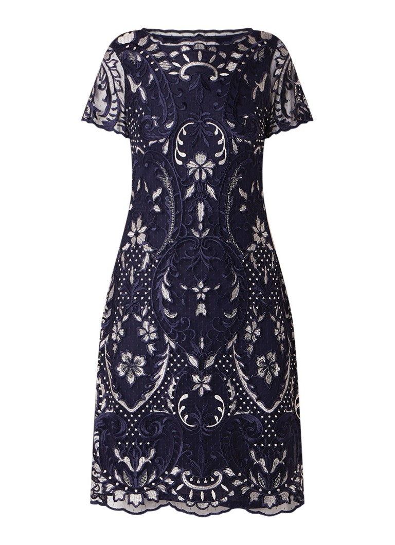 Phase Eight Lizzy midi-jurk met mesh en bloemborduring donkerblauw