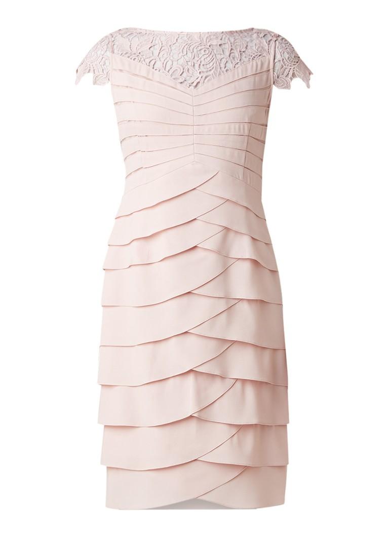 Phase Eight Faith jurk met strokenrok en kant lichtroze