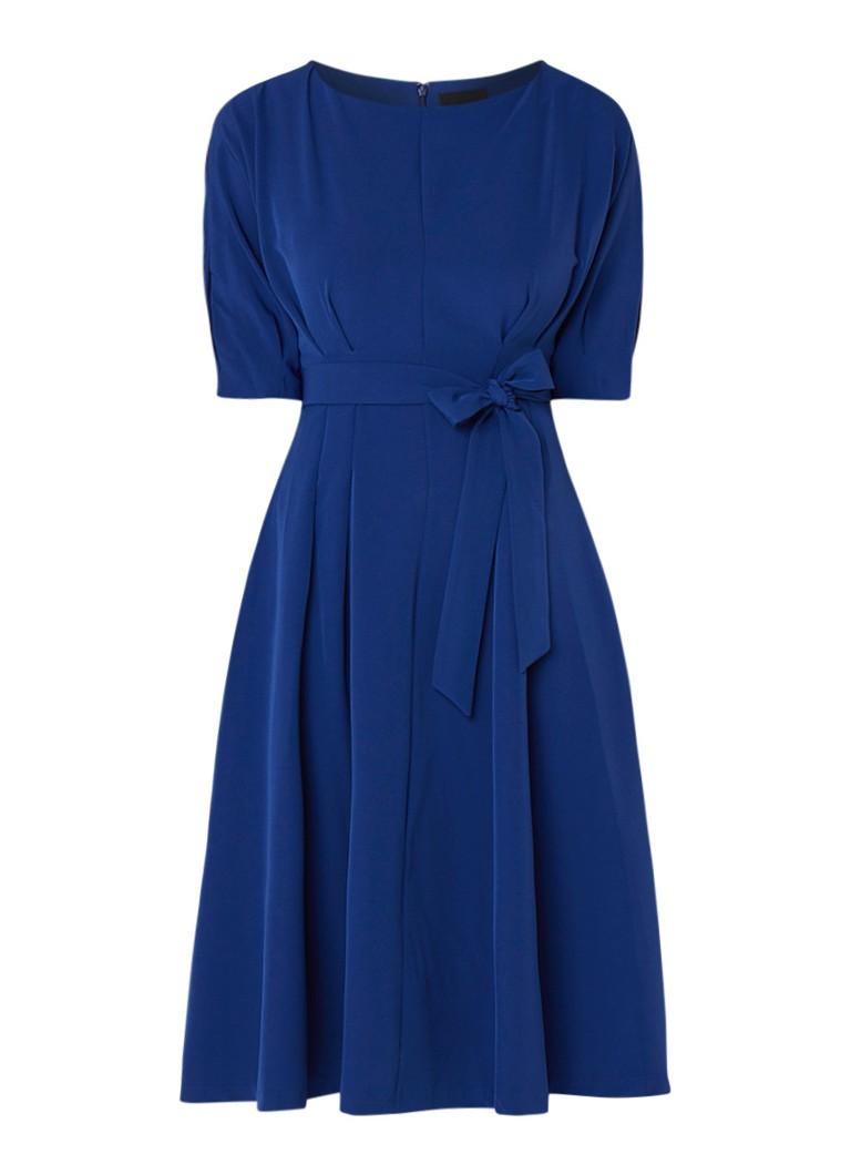 Phase Eight Cleo A-lijn midi-jurk met strikceintuur kobaltblauw