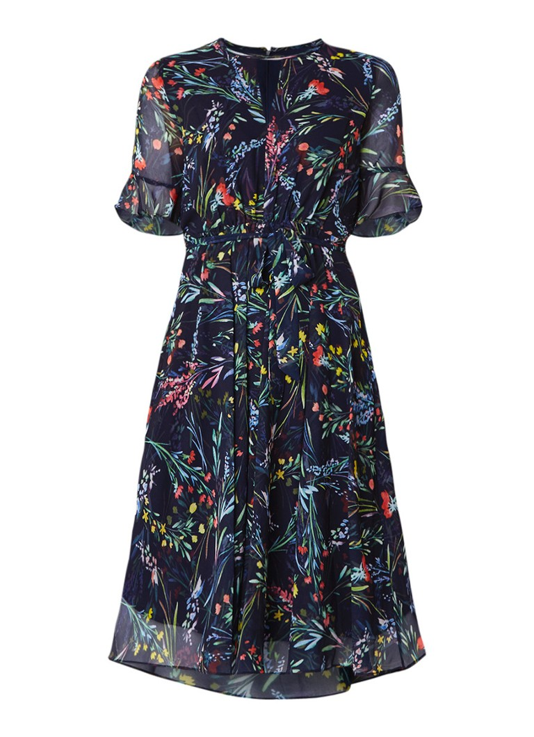 Phase Eight Kristen A-lijn jurk met bloemendessin en strikceintuur multicolor
