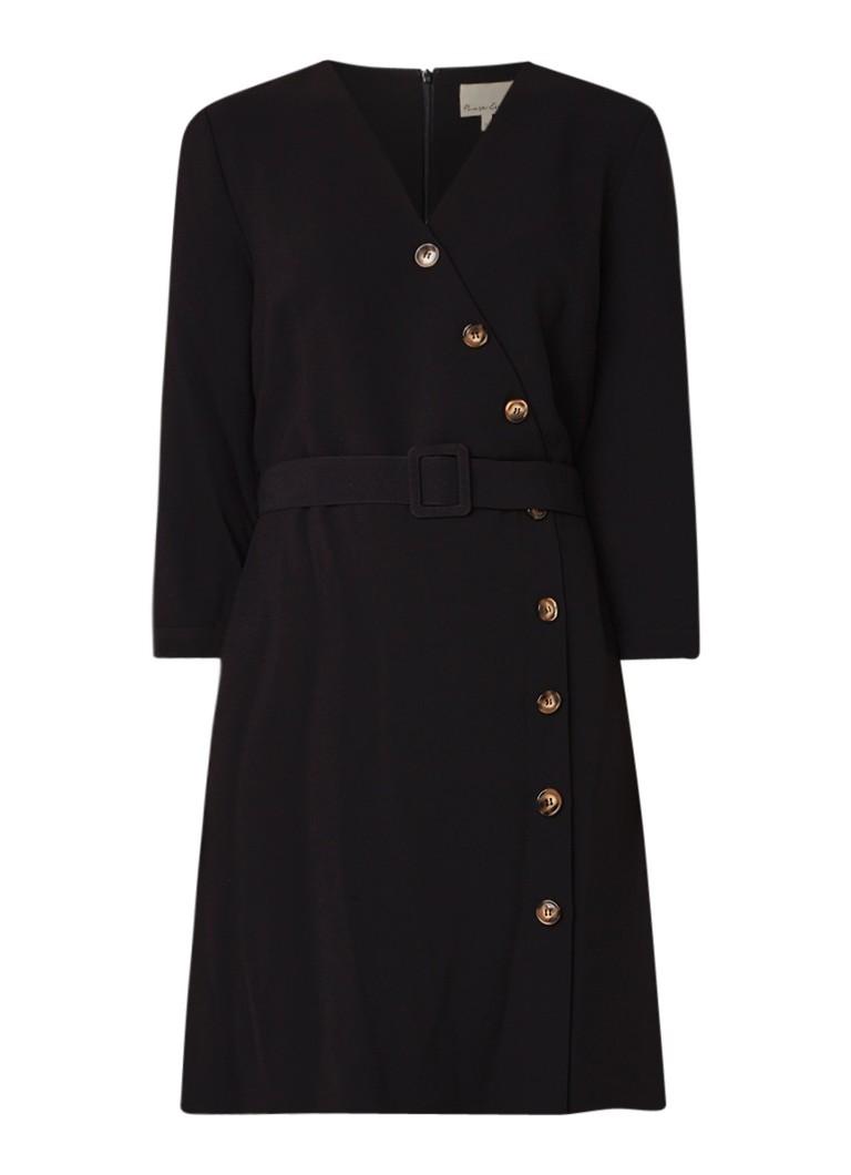 Phase Eight Julli jurk met knopen en ceintuur zwart