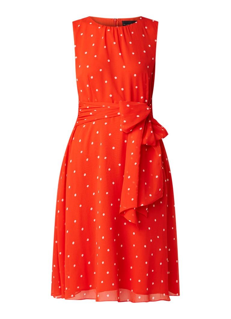 Phase Eight Fernanda midi-jurk met stippendessin en strikceintuur oranjerood