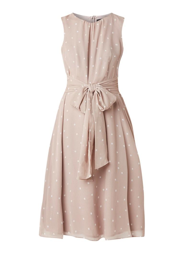 Phase Eight Fernanda gestipte A-lijn jurk van chiffon met strikdetail lichtbruin