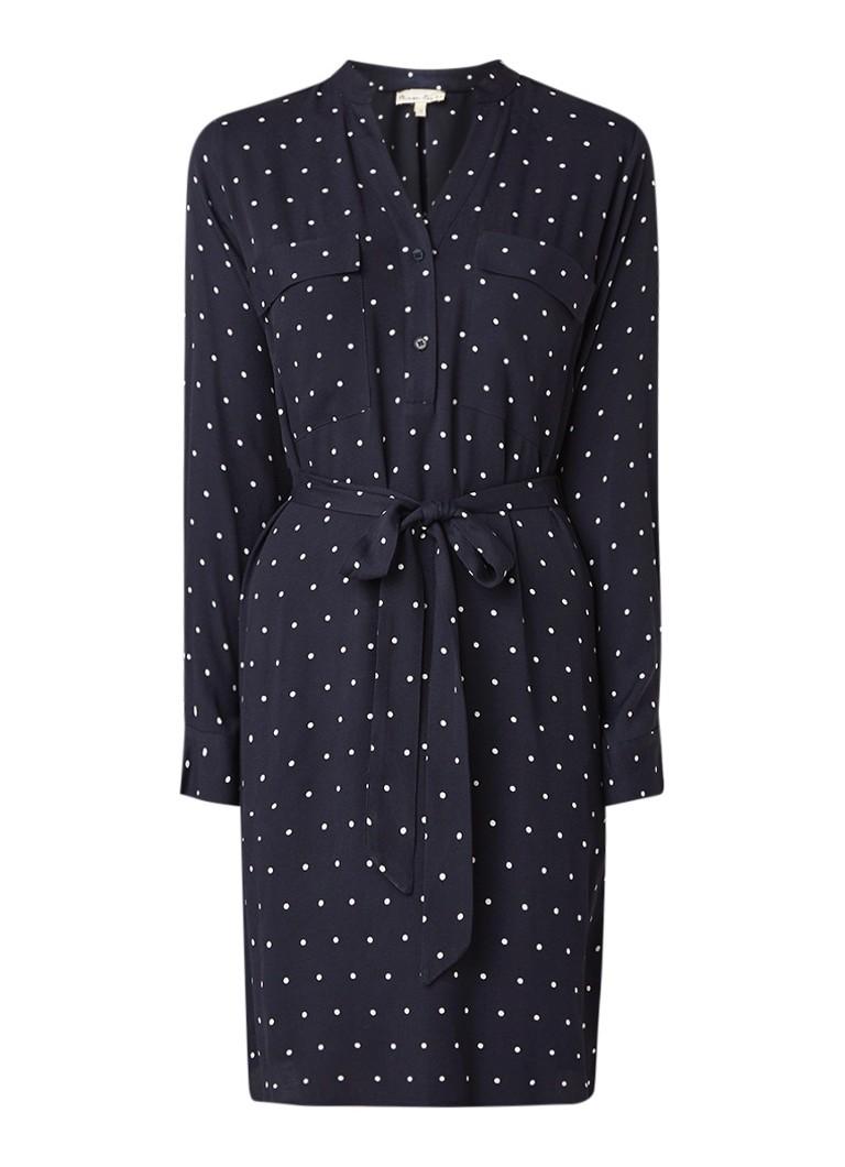 Phase Eight Keiko midi-jurk van crêpe met stippendessin donkerblauw