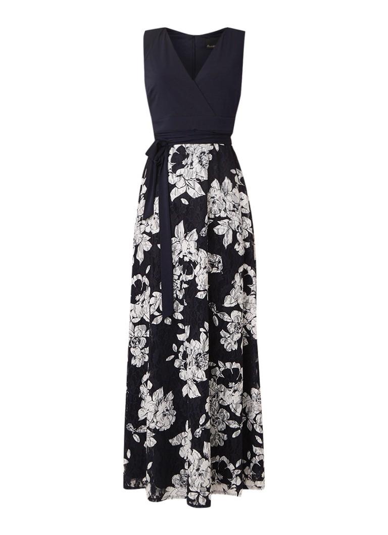 Phase Eight Medeline maxi-jurk met bloemendessin en strikceintuur donkerblauw