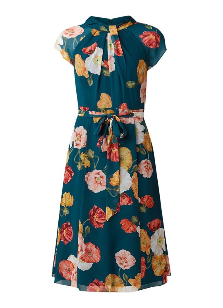 Phase Eight Laura jurk met bloemendessin en strikceintuur groen
