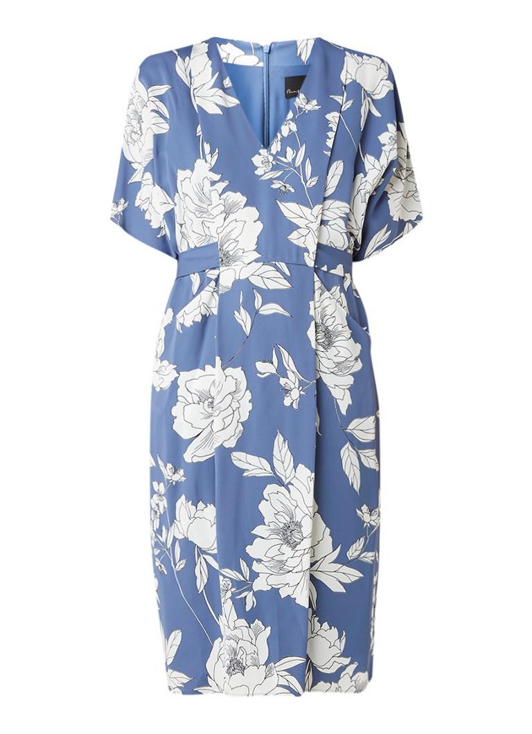 Phase Eight Malika loose fit jurk met bloemendessin en strikceintuur staalblauw