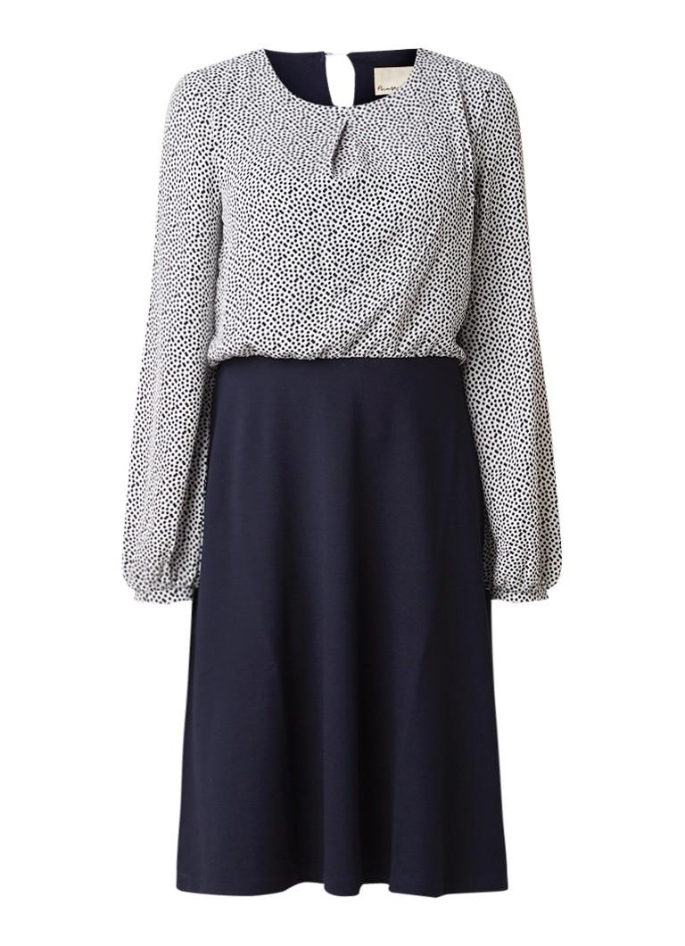 Phase Eight Fran midi-jurk met stippendessin donkerblauw