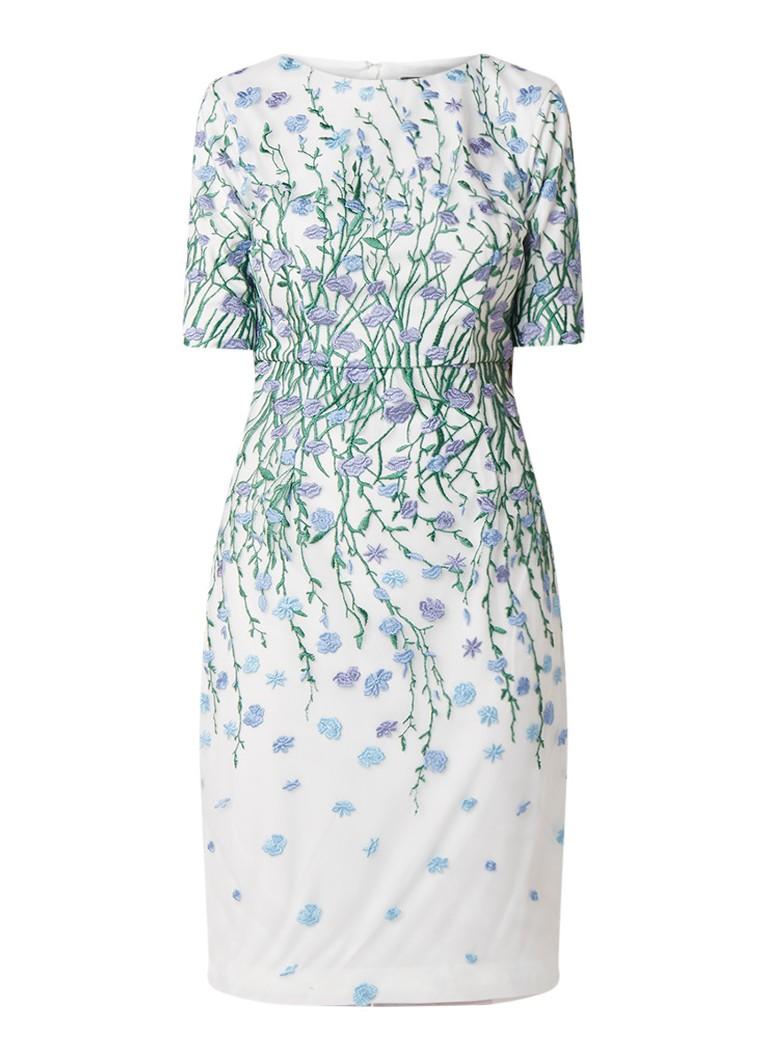Phase Eight Julie midi-jurk van chiffon met bloemborduring gebroken wit