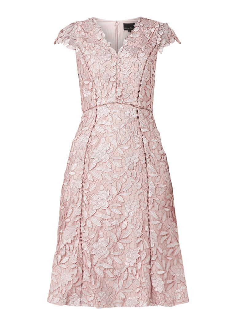 Phase Eight Amaya midi-jurk van gebloemd kant lichtroze