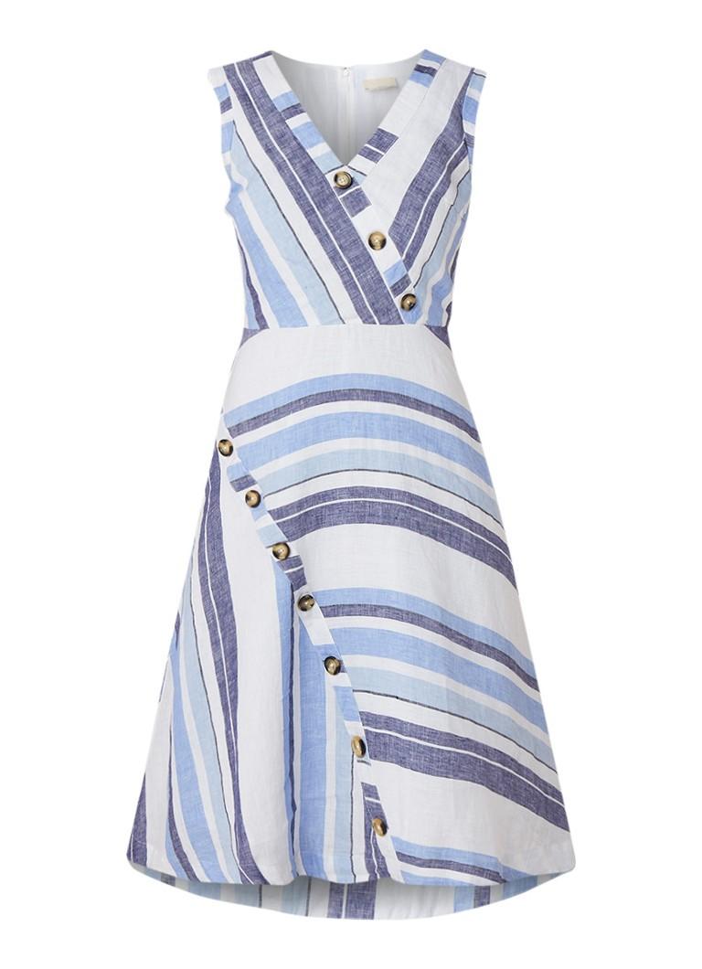 Phase Eight Carie midi-jurk van linnen met streepdessin middenblauw