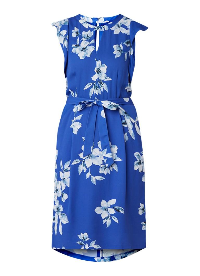 Phase Eight Olive jurk met bloemendessin en ceintuur royalblauw