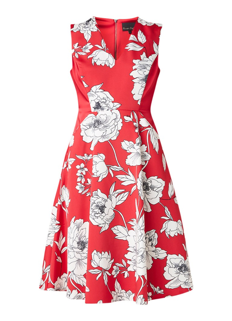 Phase Eight Eve A-lijn midi-jurk met bloemendessin donkerroze