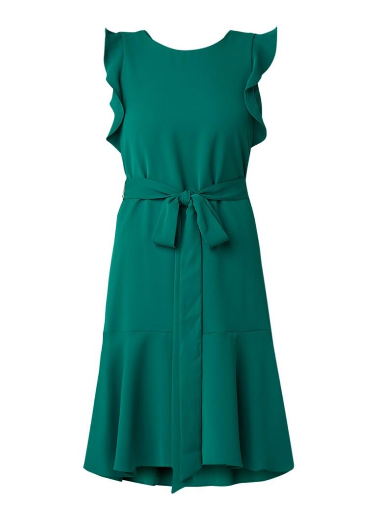 Phase Eight Victoriana A-lijn jurk met volantmouw en strikceintuur groen
