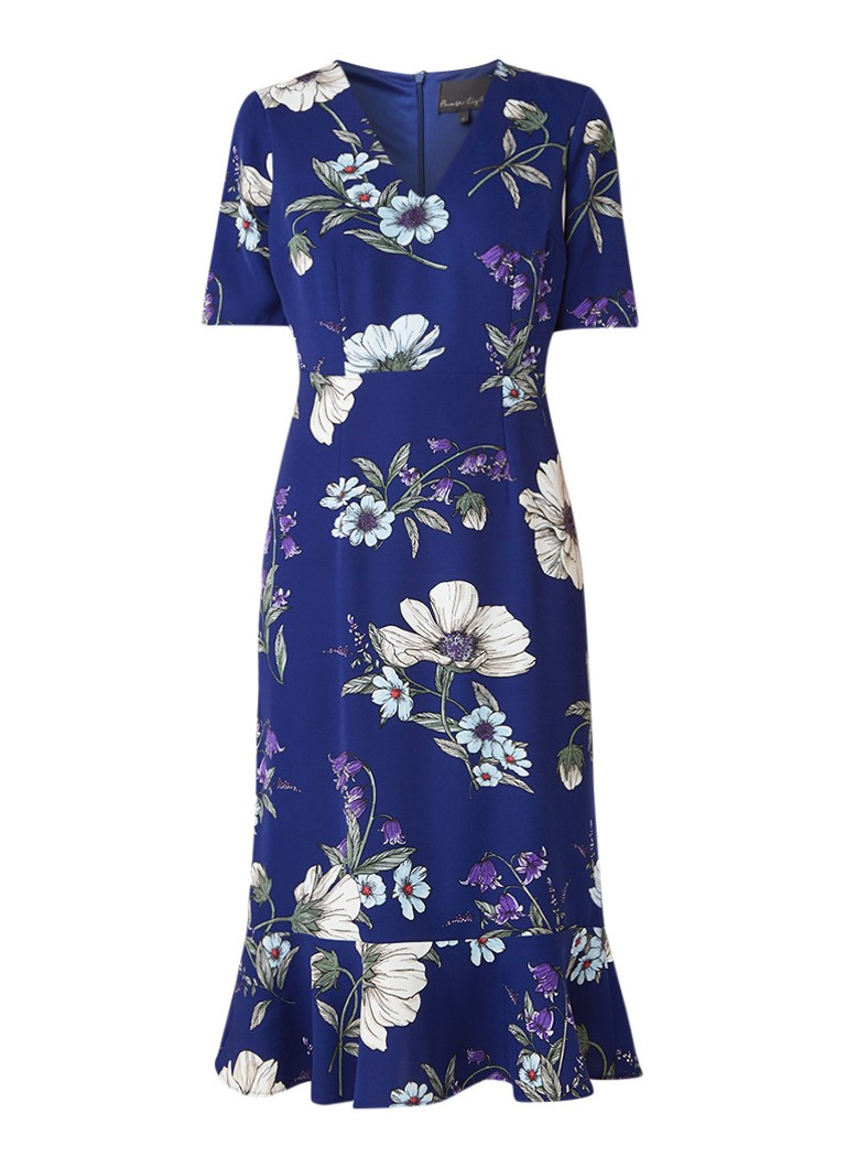 Phase Eight Cheryl midi-jurk met bloemendessin en volant kobaltblauw