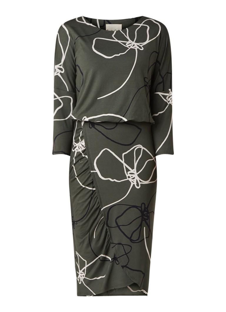 Phase Eight Libby midi-jurk van jersey met dessin donkergroen