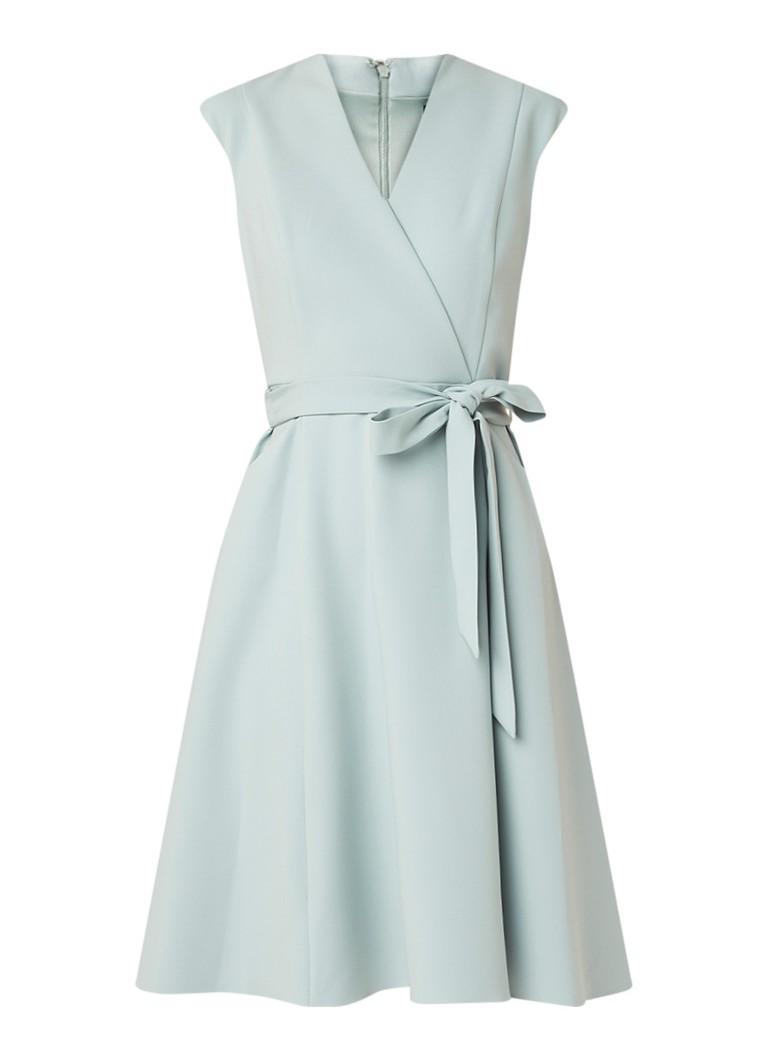 Phase Eight Joyce midi-jurk met V-hals en strikceintuur mint