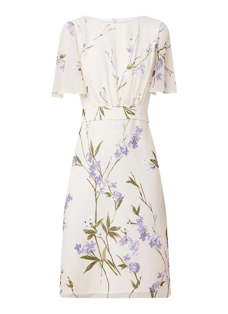 Phase Eight Eden midi-jurk met bloemendessin en volantmouw creme