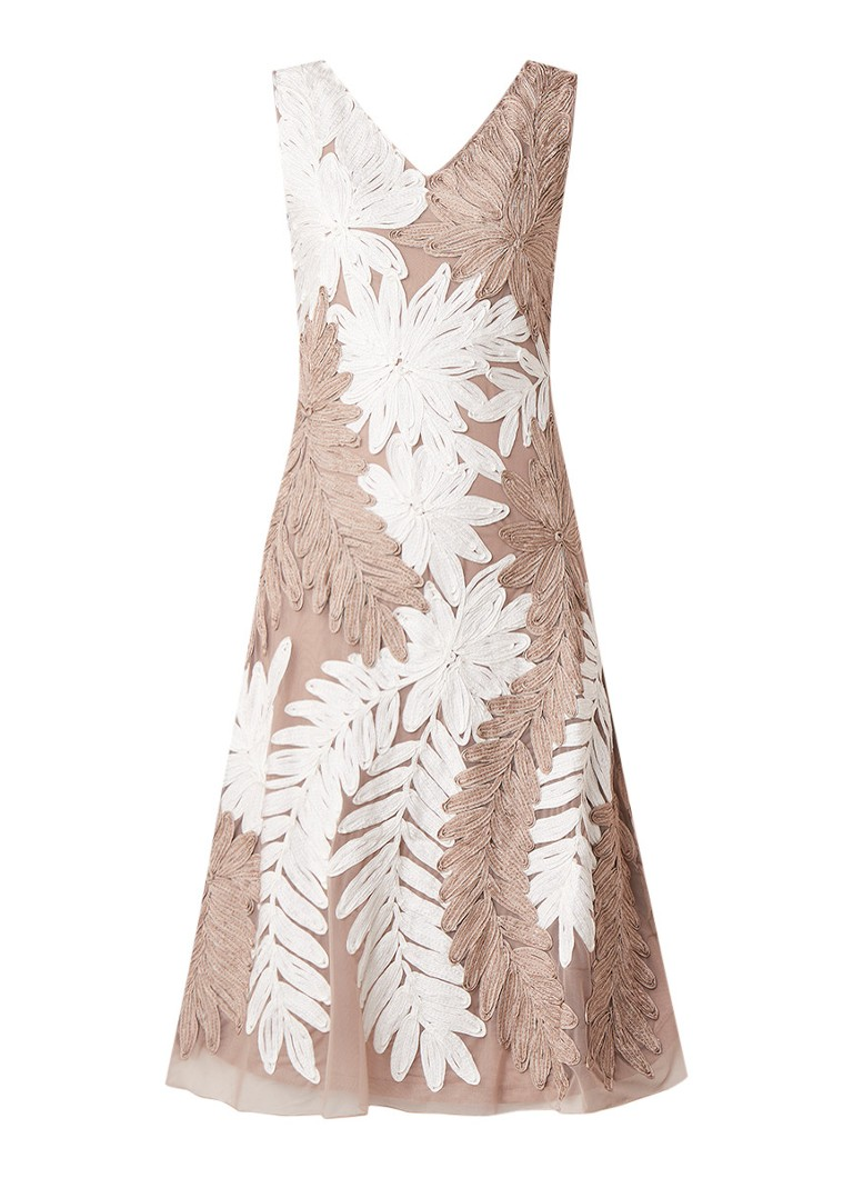 Phase Eight Denise A-lijn jurk met tapework lichtbruin