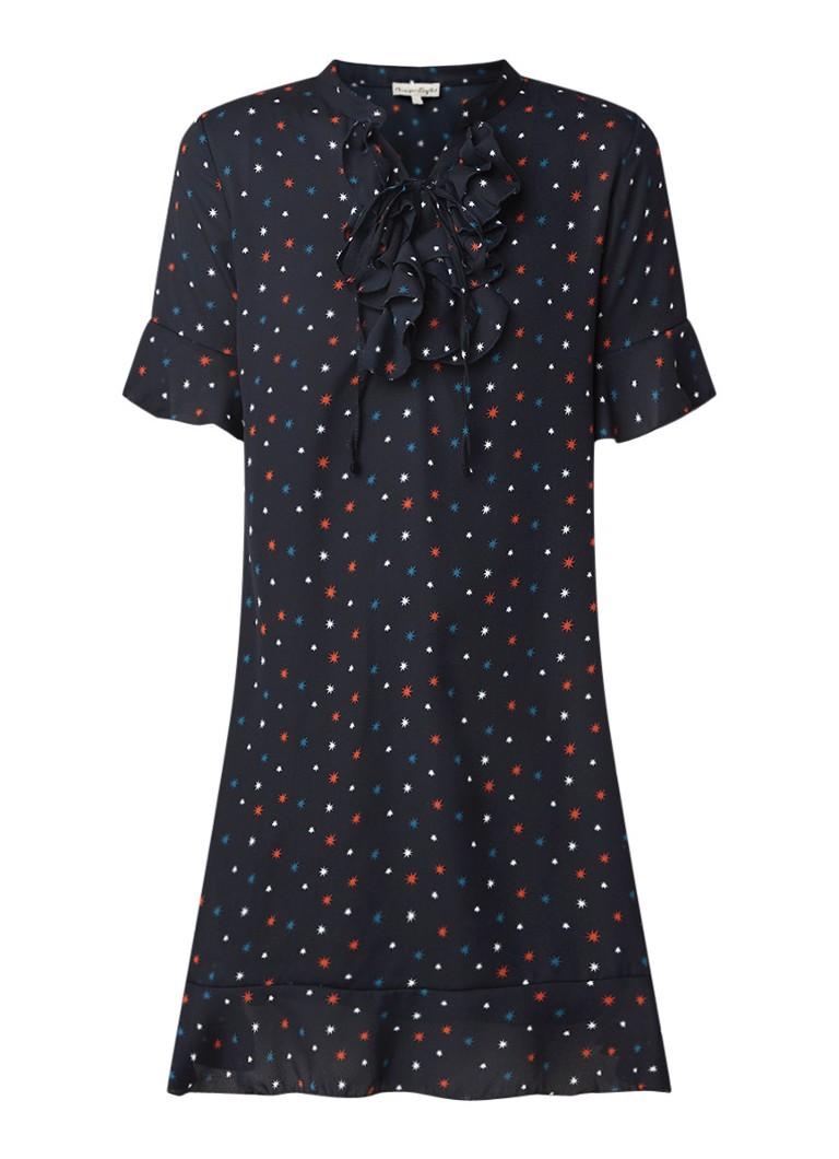 Phase Eight Sarah mini-jurk met sterrendessin en ruches donkerblauw