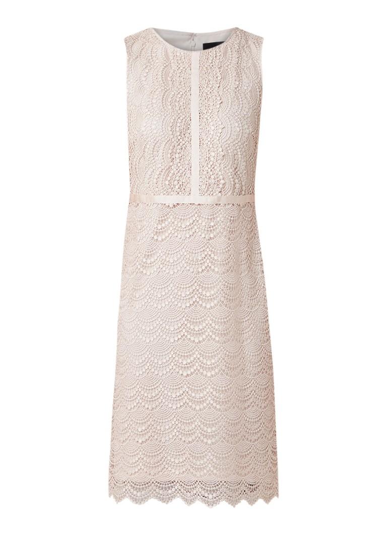 Phase Eight Helga mouwloze jurk van kant met ronde hals lichtroze