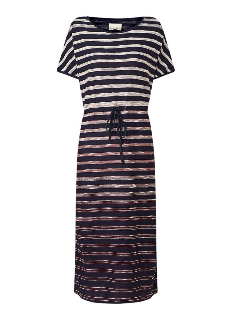 Phase Eight Ophia loose fit midi-jurk met streepdessin donkerblauw