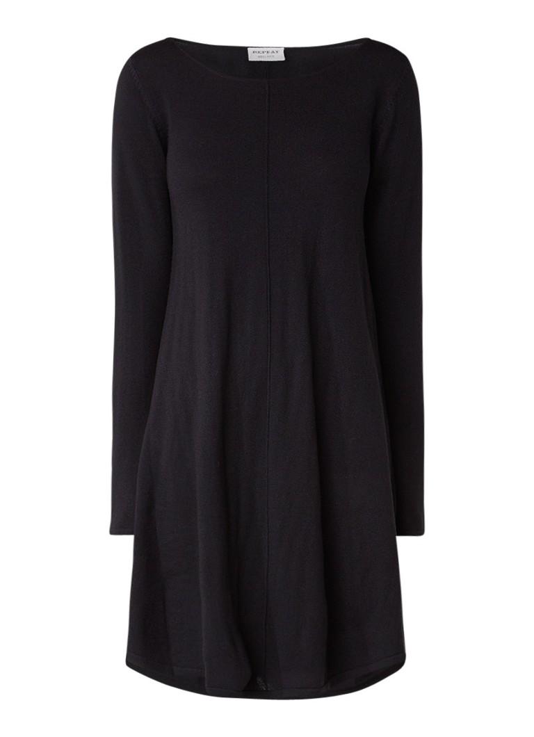 Repeat Fijngebreide jurk van merinowol zwart