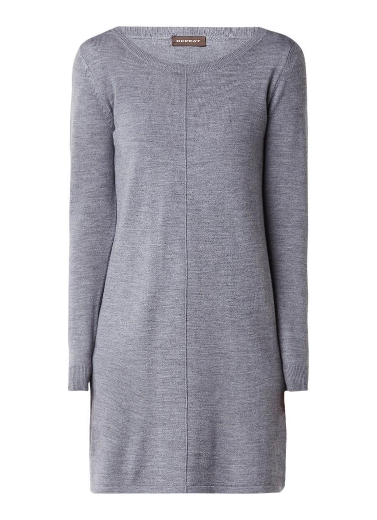 Repeat Fijngebreide jurk van wol met lange mouw